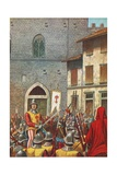 The House of Corso Donati Attacked by Florentines after He Is Condemned as a Rebel and Traitor Giclee Print by Tancredi Scarpelli