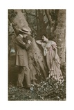 Postcard of Lovers Carving a Heart on a Tree, Sent in 1913 Giclee Print by  French Photographer