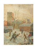 Playing Hockey in the Yard, 1940s Gicleetryck av Konstantin Lekomtsev