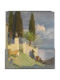 Driving Cattle, Lake Como, c.1900 Giclee Print by Joseph Walter West