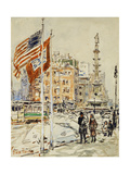 Flags, Columbus Circle, 1918 Giclee Print by Childe Hassam