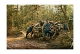 Three French Soldiers in the Woods with a Howitzer, Verdun, September 1916 Giclee Print by Jules Gervais-Courtellemont