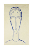 Study of a Head for a Sculpture; Etude de Tete Pour Une Sculpture, c.1911 Stampa giclée di Amedeo Modigliani