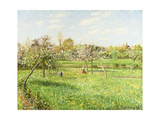 Morning, Spring, Grey Weather, Eragny; Matin, Printemps, Temps Gris, Eragny, 1900 Giclee Print by Camille Pissarro