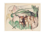 Animals in a Landscape (Three Cows and a Horse), 1913 Giclee Print by Franz Marc