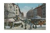 Geneva - Place Du Molard. Postcard Sent in 1913 Giclee Print by  Swiss photographer