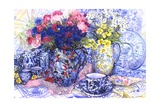 Cornflowers with Antique Jugs and Patterned Fabrics, 2012 Giclée-Druck von Joan Thewsey