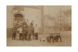 German Soldiers Pulling (Gun) Carriage. Postcard Sent in 1913 Giclee Print by  German photographer