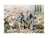 Two French Soldiers in a Town Shelled by German Artillery, Western Front, France, c.1914-18 Giclee Print by Charles Adrien