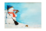 Snowman with Little Rabbit, 2012 Giclee Print by Christian Kaempf