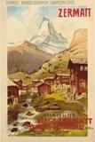 Anton Reckziegel - Zermatt, c.1900 Digitálně vytištěná reprodukce