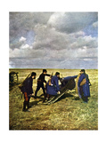 Four French Soldiers with a 90mm Cannon During the Battle of the Marne East of Paris, September… Giclee Print by Jules Gervais-Courtellemont