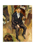 Man and Dog (Portrait of a German Painter); L'Homme Au Chein (Portrait d'Un Peintere Allemand),… Gicleetryck av Jules Pascin