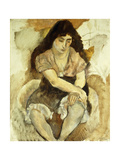 Young Woman Sitting; Jeune Fille Assise, 1921 Gicleetryck av Jules Pascin