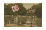 The Lake and the Chalet Robinson, Bois de La Cambre, Brussels. Postcard Sent in 1913 Giclee Print by  Belgian Photographer