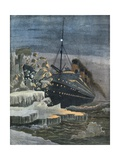The Titanic Collides with an Iceberg Giclee Print by  French School