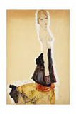 Kneeling Girl with Spanish Skirt; Knieendes Madchenmit Spanischem Rock, 1911 Giclee Print by Egon Schiele