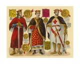 Victorian Scrap: King Stephen, King Henry II, King Richard I Giclee Print by  English School