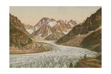 Scenic View of Mountains and Glacier. Postcard Sent in 1913 Giclee Print by  French Photographer