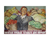 Kolkhoz Farmers! Make a Rich Harvest from the Plantations and Gardens!, 1952 Giclee Print by Galina Konstantinovna Shubina