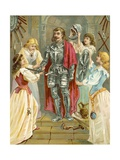 Christian in the Armoury Receiving His Weapons from Discretion, Piety, Charity and Prudence Giclee Print by  English School