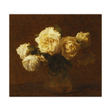 Six Yellow Roses in a Vase; Six Roses Jaunes Dans Une Vase, 1903 Giclee Print by Ignace Henri Jean Fantin-Latour