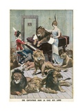 Opera Singer in a Lion Cage Giclee Print by  French School