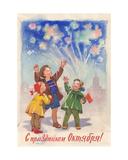 Congratulations on the October Celebrations, Postcard Design, 1960 Giclee Print by Svetlana Ryazanova