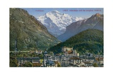 Jungfraujoch - Interlaken and Jungfrau in Switzerland. Postcard Sent in 1913 Giclee Print by  Swiss photographer