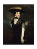Portrait of Amy Bird, the Actress, Standing Three-Quarter Length, in Black, a Landscape Beyond,… Giclee Print by Glyn Warren Philpot