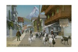 Zermatt - Return of the Goats. Postcard Sent in 1913 Giclee Print by  Swiss photographer