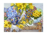 Daffodils, Antique Jugs, Plates, Textiles and Lace, 2012 Giclee Print by Joan Thewsey