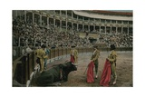 The Puntilla - Spanish Bullfight. Postcard Sent in 1913 Giclee Print by  Spanish Photographer