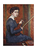 Woman with Violin (Portrait of Renee Druet); Femme Au Violin (Portrait de Renee Druet), 1910 Giclee Print by Théo van Rysselberghe