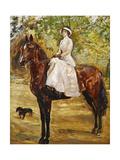 Woman in White Riding a Horse; Dame Im Weissen Reitkleid Zu Pferde, 1910 Giclee Print by Max Slevogt