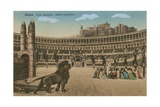 Rome - Circus Maximus - the Last Prayer of the Christians as They are Fed to the Lions. Postcard… Giclée-tryk af Italian School