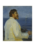 Portrait of the Artist Peder Severin Kroyer, Half-Length, 1907 Gicléetryck av Michael Peter Ancher