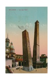 The Two Towers in Bologna, Italy. Postcard Sent in 1913 Giclee Print by  Italian Photographer