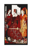 Queens Who Cut the Hogs of Glanna...'. 'Queens', Nine Glass Panels Acided, Stained and Painted,… Giclee Print by Harry Clarke