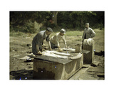 Three French Soldiers Doing Laundry at a Well, Soissons, Aisne, France, 1917 Giclee Print by Fernand Cuville