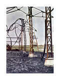 Bent Steel Beams of a Burned Building in the Town of Étrepilly North of Mea Giclee Print by Jules Gervais-Courtellemont