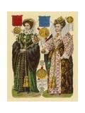 Victorian Scrap: Queen Mary I, Queen Elizabeth I Giclee Print by  English School