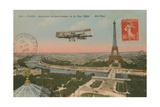 Postcard of an Aeroplane Circling around the Eiffel Tower, Sent in 1913 Giclee Print by  French Photographer