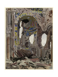Bombed Out Interior of Albert Church, 1918 Giclee Print by Ernest Proctor