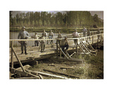 French Soldiers from a Special Unit Building a Wooden Bridge across the Aisne, Soissons, France,… Giclee Print by Fernand Cuville
