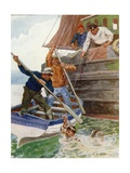 The Two Men in the Boat Began Frantically to Beat and Dig at a Loathsome Object Giclee Print by Charles Edmund Brock
