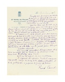 Letter from 'The Complete Dossier of the Meeting of the Bar Du Chateau', 19th February, 1929 Giclee Print by René Crevel