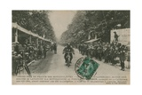 French Motorcycle Grand Prix, Fontainebleau, 22 June 1913. Lavanchy Winning the 500 cc Category on… Giclée-Druck von  French Photographer