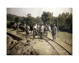 French Soldiers of the 11th Artillery Regiment Installing Tracks for a 600mm (Narrow) Gauge… Giclee Print by Fernand Cuville