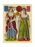 Victorian Scrap: Queen Mary, Queen Anne Giclee Print by  English School
